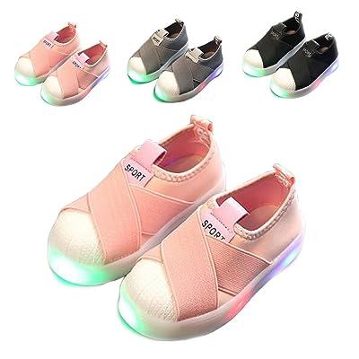 6e07abb1593 ALSYIQI Kids Boys Girls LED Shoes Toddler Little Kid Canvas Light Sneakers