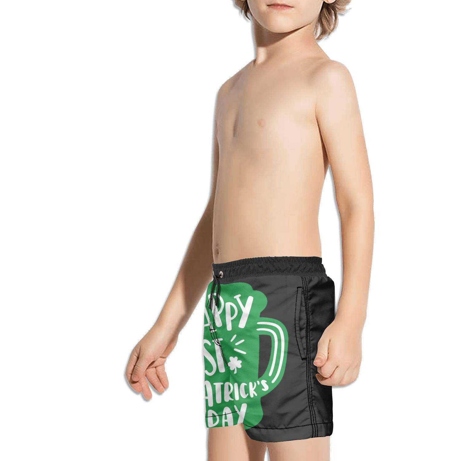 Voslin Kids Unisex Happy Saint Patricks Day Stamp Picture Beach Swim Trunks Quick Drying Drawstring Shorts