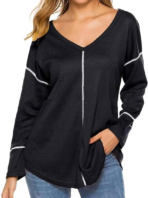 Womens Long Sleeve V Neck Zipper Blouses Casual Loose Tops T-Shirt