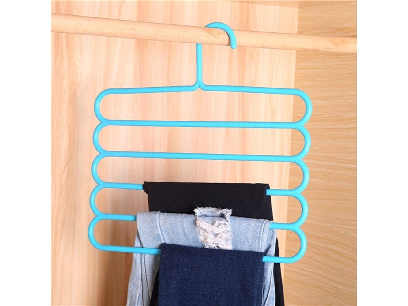 Godlife Calzini appesi Rack Multifunzionale a Cinque Strati Rack stendino Candy Color Plastic Tie Rack di stoccaggio (Blu) Appendiabiti