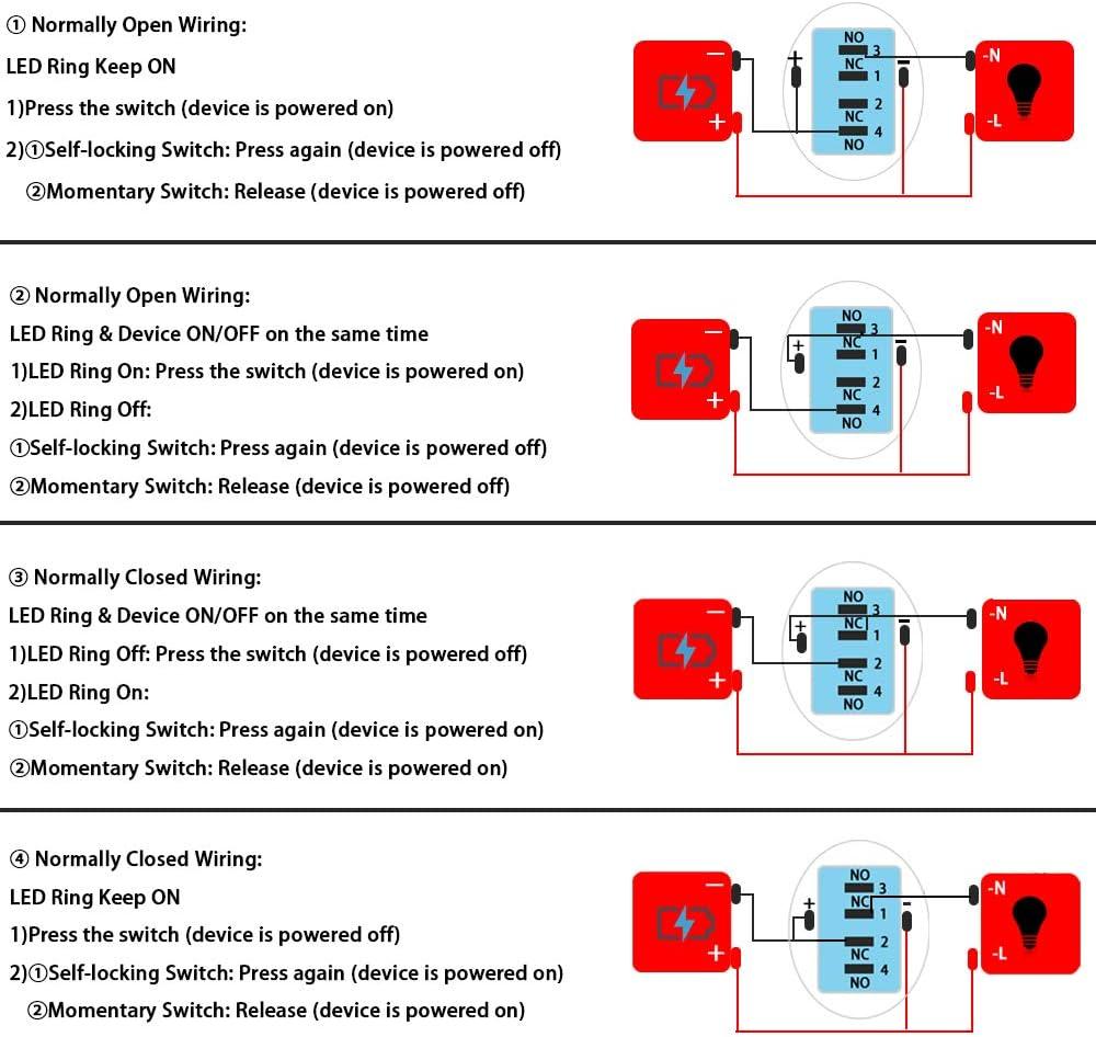 SENZEAL Druckknopf Edelstahl Druckschalter 12V 22mm 0.87Inch EIN Aus Schalter LED Beleuchtet mit Steckdose Wei/ß-1