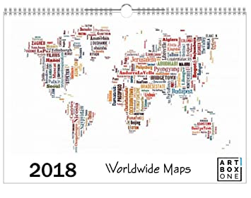 Artboxone calendar 2018 worldwide maps by david springmeyer wall artboxone calendar 2018 worldwide maps by david springmeyer wall calendar din a4 cartography travel gumiabroncs Gallery
