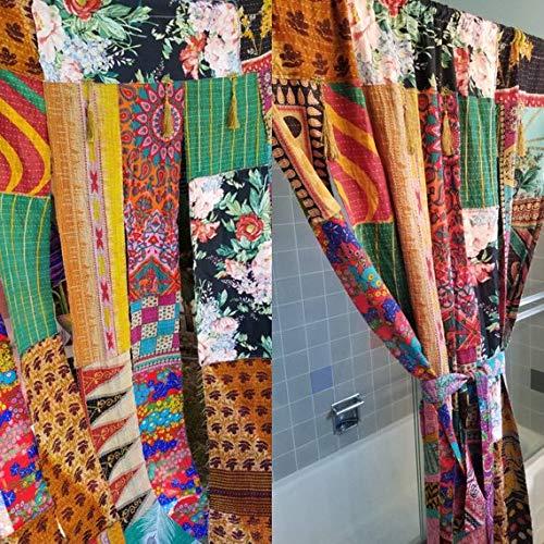 Amazon Fabric Shower Curtain Room Divider Patchwork Kantha Floral Paisley Boho Tassel Gypsy Bohemian Door HippieWild Handmade