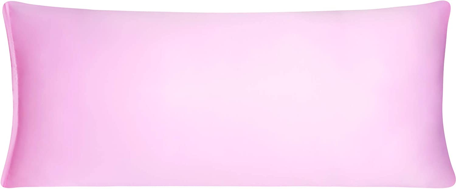 uxcell Satin Body Pillow Case, Pink Silky Body Pillowcases for Hair and Skin, 21x48 Long Pillow Covers with Zipper Closure
