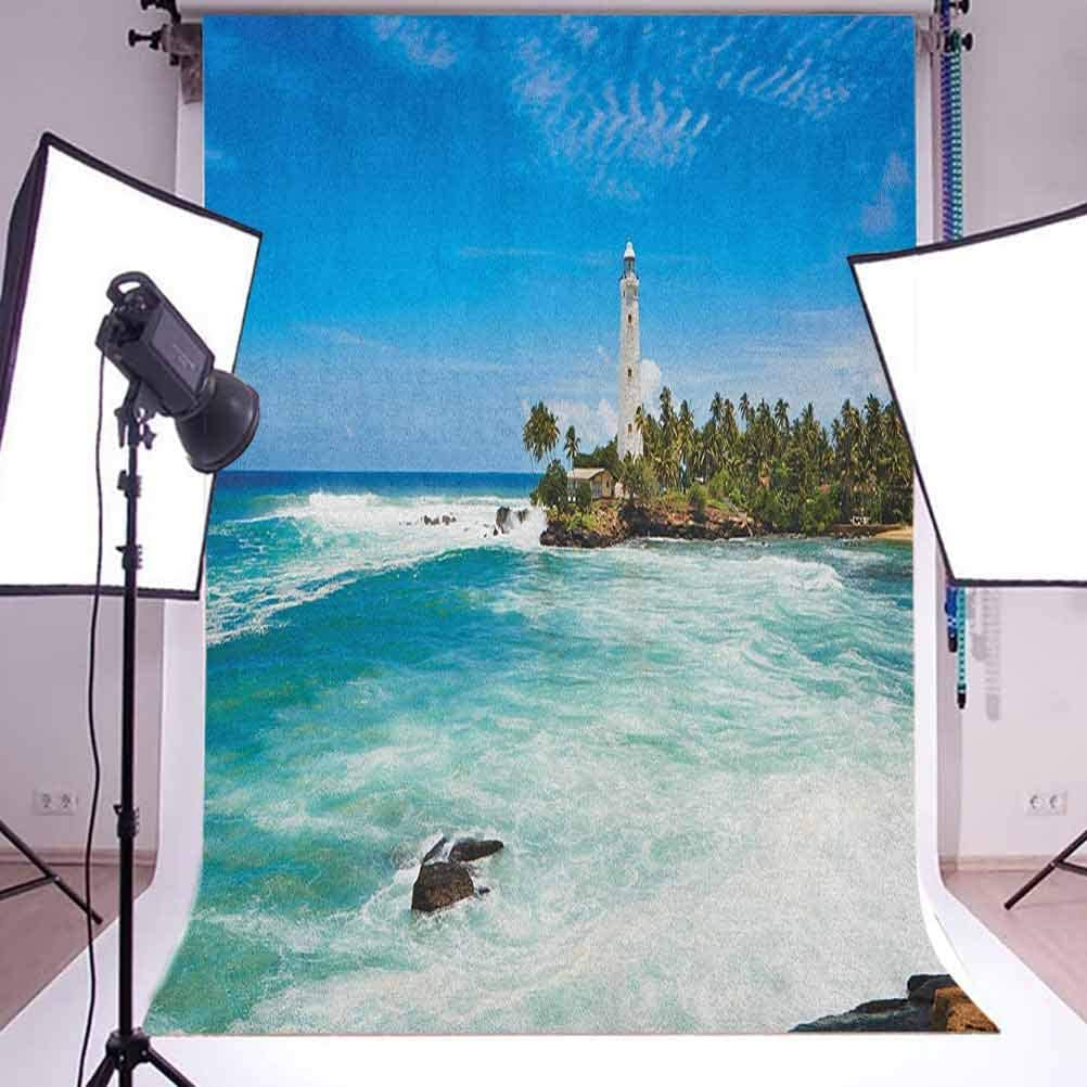7x10 FT Pirates Vinyl Photography Background Backdrops,Pirate Cat in a Blue Sailor Suit on a Backdrop with Fishes and Dots Maritime Background for Photo Backdrop Studio Props Photo Backdrop Wall