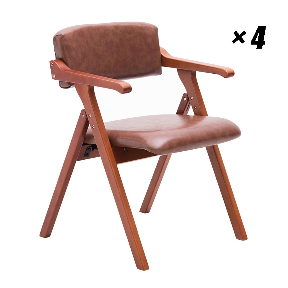 現代ラウンジチェア木製ダイニングシートPUキッチンチェア家庭、カフェ、会議用55×57×78cm (色 : Red-brown, サイズ さいず : Set of 4) B07F876FWN Set of 4 Red-brown Red-brown Set of 4