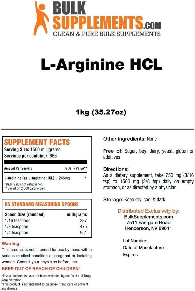 BulkSupplements L-Arginine HCL Powder 1 Kilogram