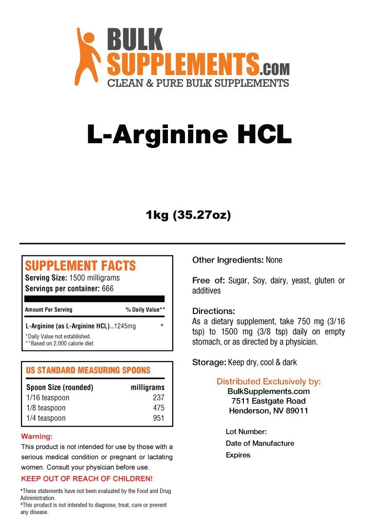 BulkSupplements L-Arginine HCL Powder (1 Kilogram)
