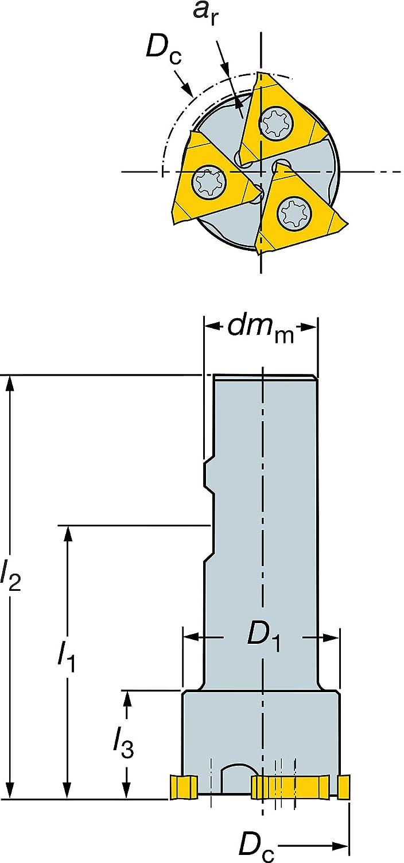 13 Insert Size 44mm Cutting Diameter Weldon Shank Sandvik Coromant 328-044B25-13M CoroMill 328 Groove Milling Cutter Neutral 3 Close Pitch