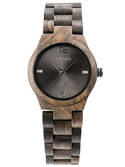 Alienwork Reloj Mujer Relojes Madera Sándalo Negro Negro Analógicos Cuarzo Impermeable Madera Natural