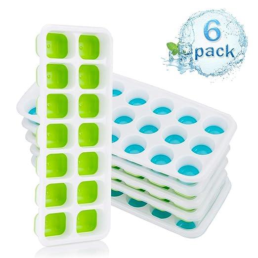 Niceclub 6 paquetes de bandejas de cubitos de hielo de silicona ...