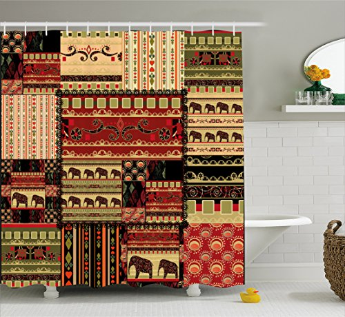 Old African Elephant (African Shower Curtain by Ambesonne, Patchwork Style Asian Pattern with Elephants and Cultural Ancient Motifs Print, Fabric Bathroom Decor Set with Hooks, 70 Inches, Red Green Black)