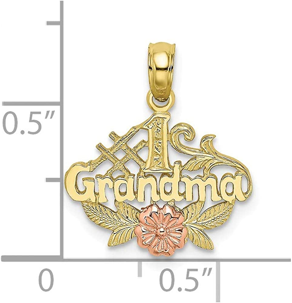 FB Jewels 10K Yellow and Rose Two Tone Gold Two Tone #1 Grandma with Pink Flower Pendant