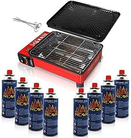 Rsonic rojo Plancha a gas para camping 4 cartuchos de gas butano con rejilla y Placa para terraza jardín