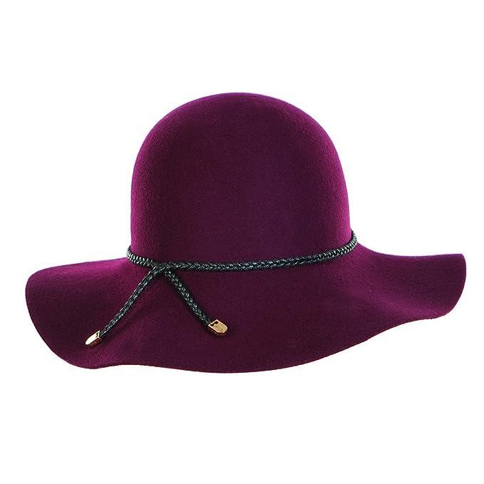 788dec594d3 Hatsandscarf CC Exclusives Women s 100% Wool Boho Floppy Black Braided Belt  Wide Brim Fedora Cowboy
