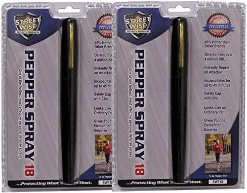 StreetWise 2 Pack Pepper Spray PEN S 18 Black Pen 1 2 oz Lab Certified 46 Stronger Than Competing Brands