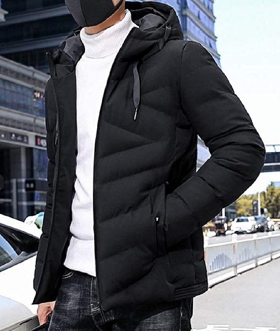 DressU Mens Winter Fitted Waterproof Keep Warm Outwear Zip-up Pea Coat Jacket