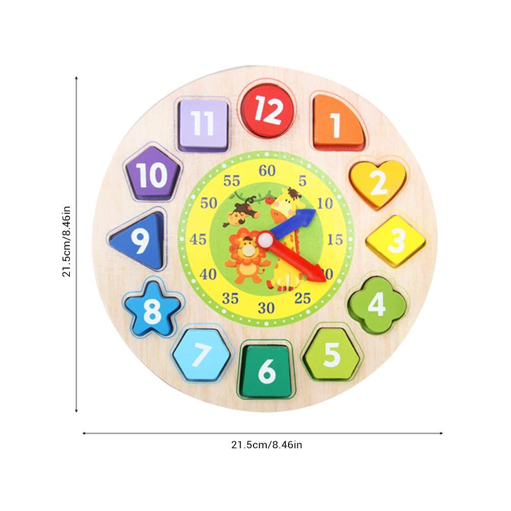 Lernuhr aus Holz Farbenfrohe Lerntafel mit Uhrzeit Kinderspielzeug Lernuhr Montessori Spielzeug P/ädagogisches Lernen Spielzeug f/ür Kinder ab 3 Jahren