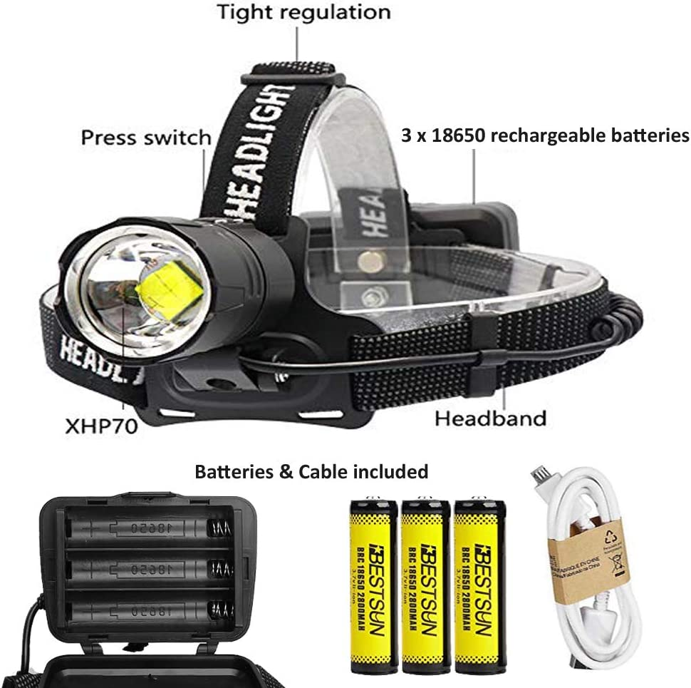 990000 Lumens XHP70 High Power Zoom LED Flashlight Torch Rechargeable Headlamp