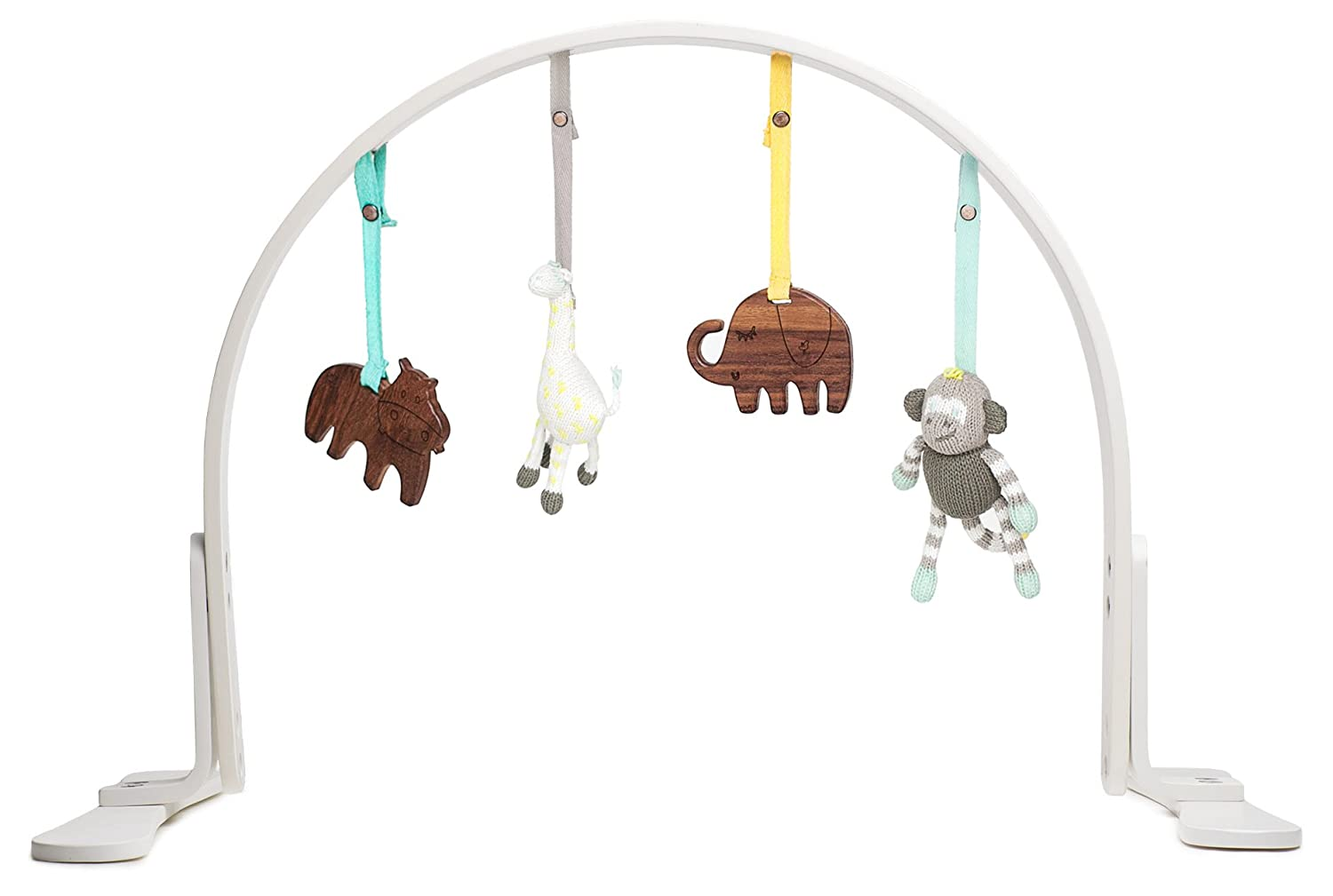 Finn + Emma Play Gym, Organic Cotton and Natural Wood with Hand-Knit Rattle and Teether Stroller Toys for Baby Boy or Girl – Jungle - White
