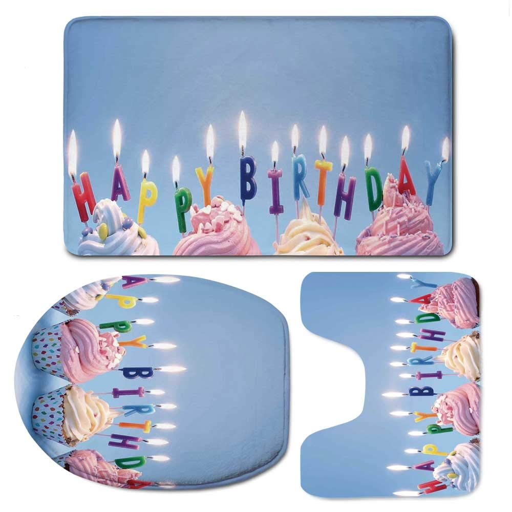 YOLIYANA Birthday Decorations Soft Bathroom 3 Piece Mat Set,Delicious Creamy Cupcakes with Letter Candles Sweet Celebration Theme for Home,F:20'' W x31 H,O:14'' Wx18 H,U:20'' Wx16 H