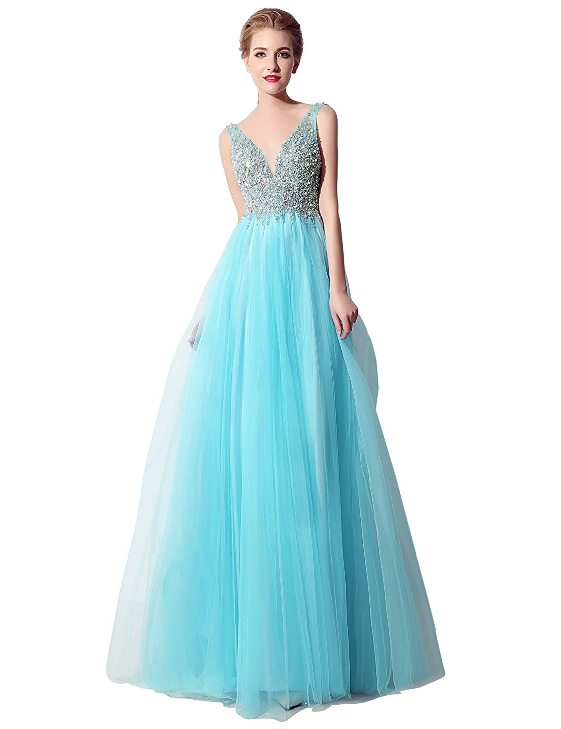 066sky bluee Sarahbridal Women's Tulle HiLow Beading Prom Dresses Evening Homecoming Cocktail Gowns