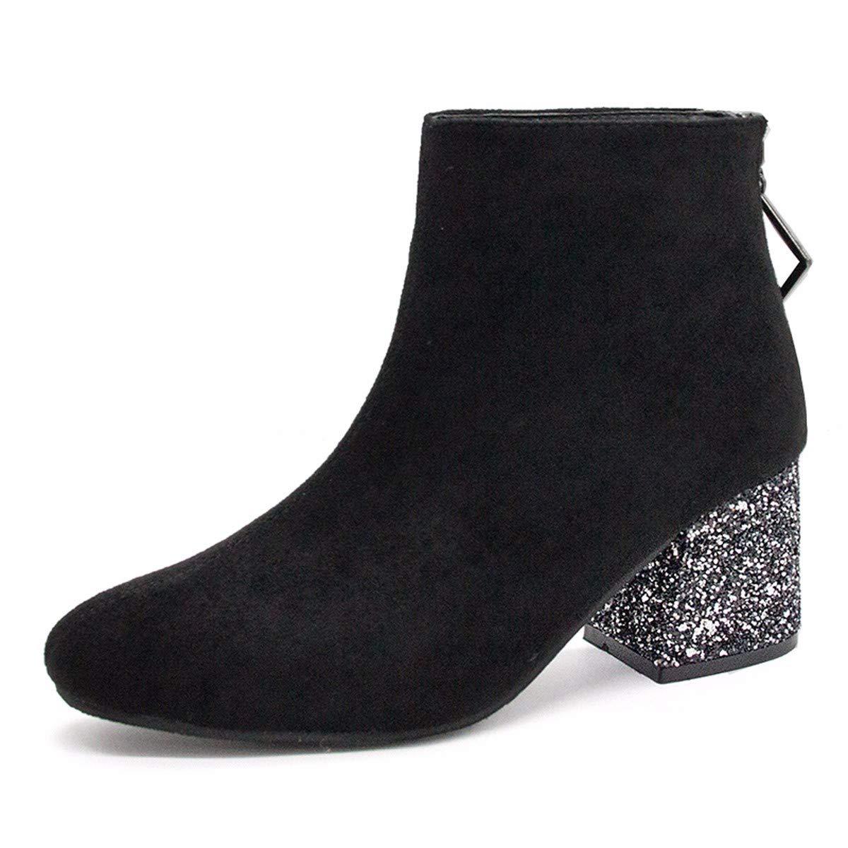 HBDLH Damenschuhe/Kurze Stiefel High - 6 cm Baumwolle Stiefel Dünn Und Wild Ma Dingxue