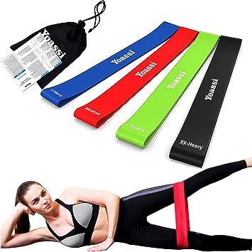 Yoassi Lot de 4 Bande Élastique de Fitness d Exercice de Eésistance pour  Yoga   ce73fffe6a8