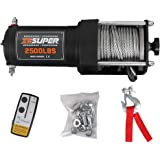 ZESUPER 2500 lb 12V DC Electric Winch 50 ft Steel Cable Off Road Waterproof UTV ATV Boat Modified Vehicles Winch Kits Wireles
