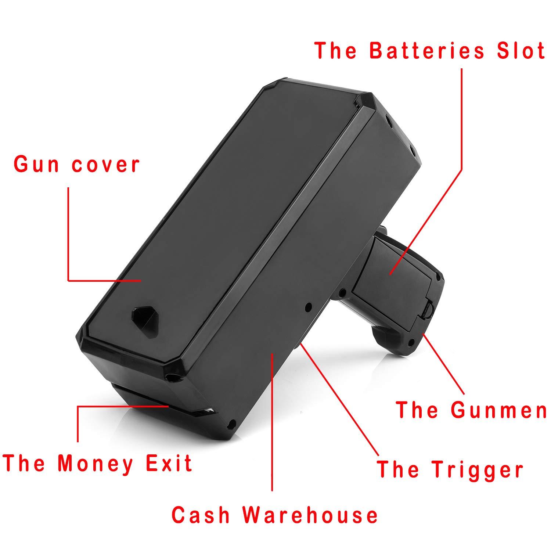Wowok Black Money Gun with 10,000$ Fake Money, Super Money Guns Paper Playing Spary Money Gun Make it Rain Toy Gun Cash Gun for Game Party Supplies(Battery Included) by Wowok (Image #4)