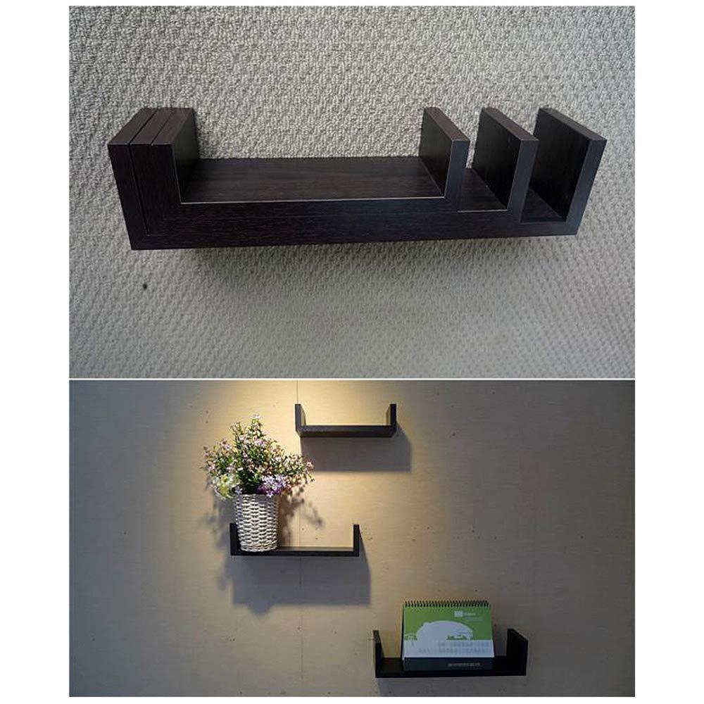 Rustic Laminated MDF Floating U Wall Decor Shelves Black Anferstore Set of 3 Floating Wall Shelves