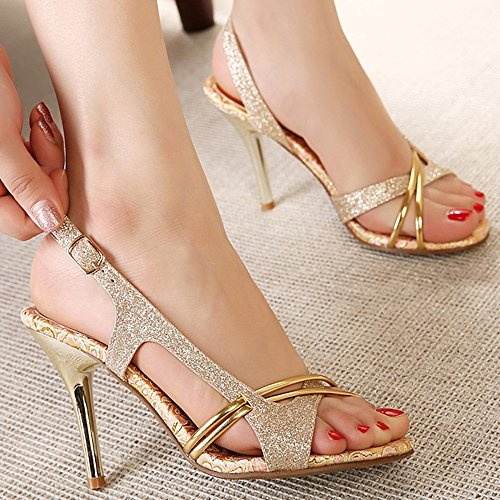 XIAOLIN Summer Fashion Peep-toe Golden Elegant Sandals Korean Fashion Princess Stiletto Sweet Fine Sexy Women's Sandals Two Kinds Heel Height 7cm And 10cm(Optional Size) ( Color : Heel height 10 cm , Heel Height 10 Cm