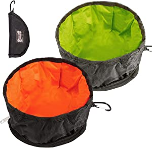 Dprofy Portable Collapsible Dog Travel Bowls - Lightweight Foldable Dog Water Bowl with Zipper, for Small/Large Pet Cat Food Water Feeding Portable Travel Bowl
