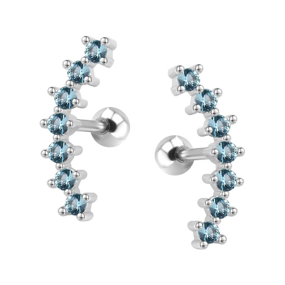 Curve Seven Stud CZ Stud Earrings 316L Stainless Steel Ear Helix Conch Cartilage Piercing Pierced Art Trends