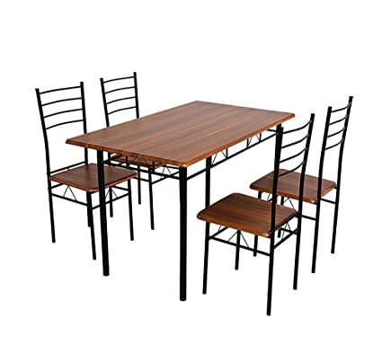 Nilkamal Texas Four Seater Dining Table Set (Walnut Finish, Brown)