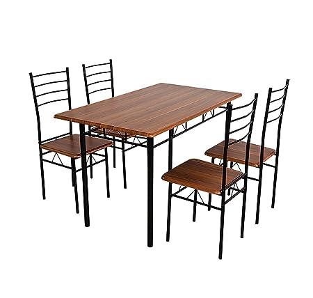 Nilkamal Texas Four Seater Dining Table Set (Walnut Finish, Brown)