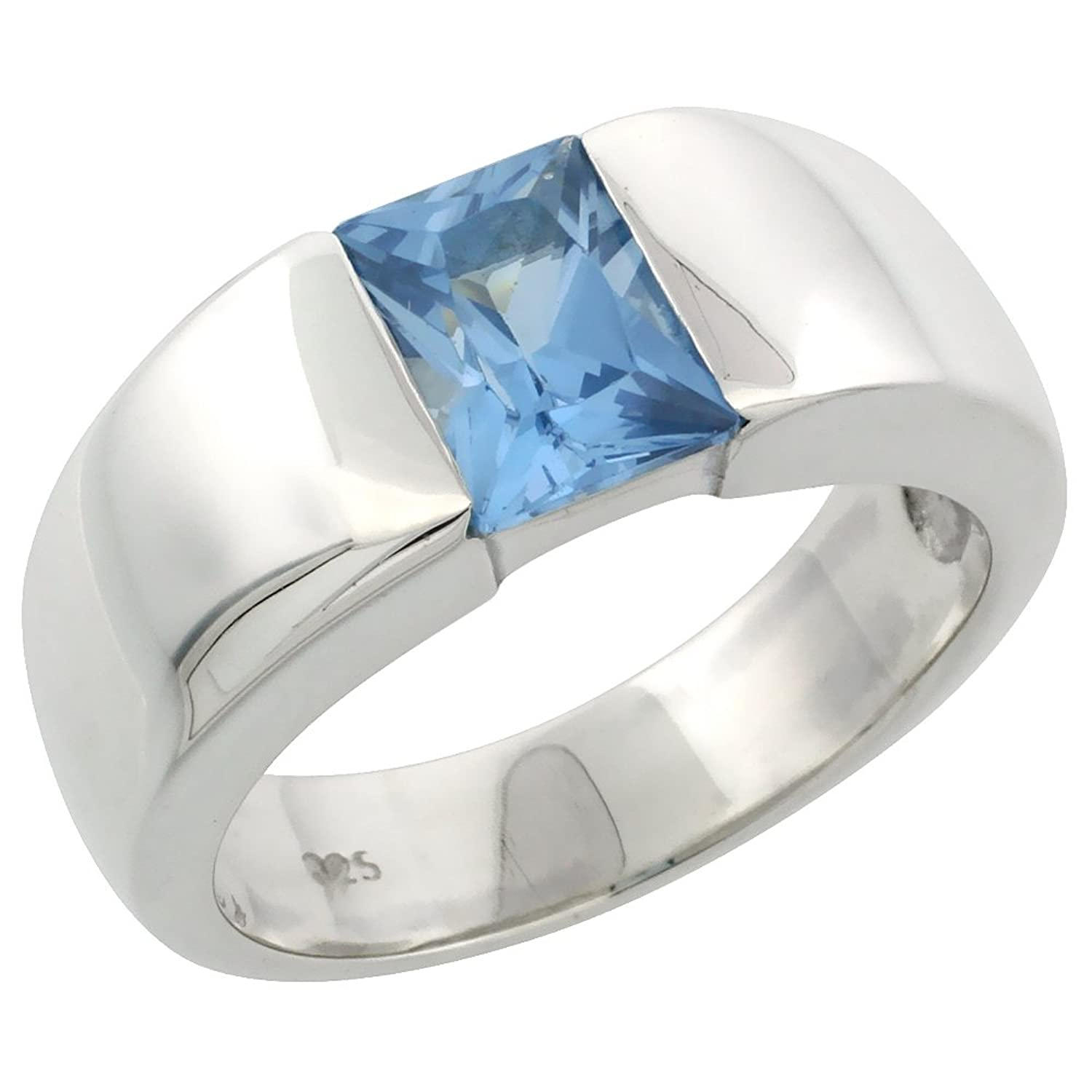 Mens Sterling Silver Blue Topaz CZ Solitaire Ring Emerald Cut 1 5
