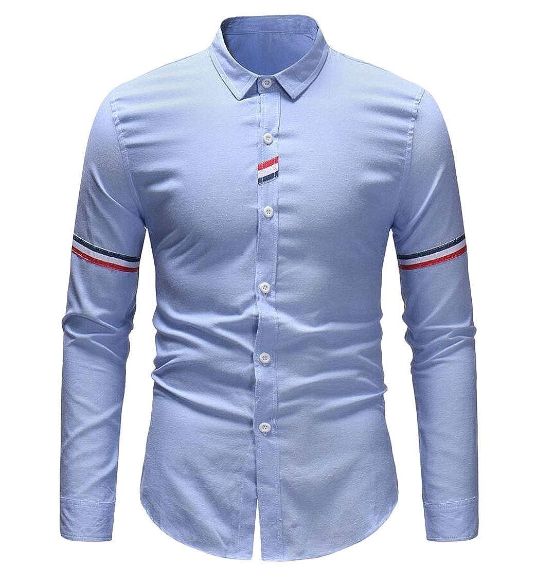 Rrive Mens Lapel Long Sleeve Business Slim Fit Striped Button Down Dress Shirt