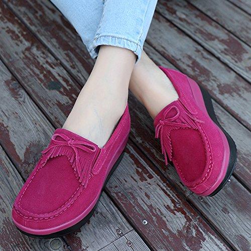 STQ Women Platform Wedges Tassel Loafers Comfort Work Slip On Fringe Suede Moccasins Shoes Rosy qAa0D