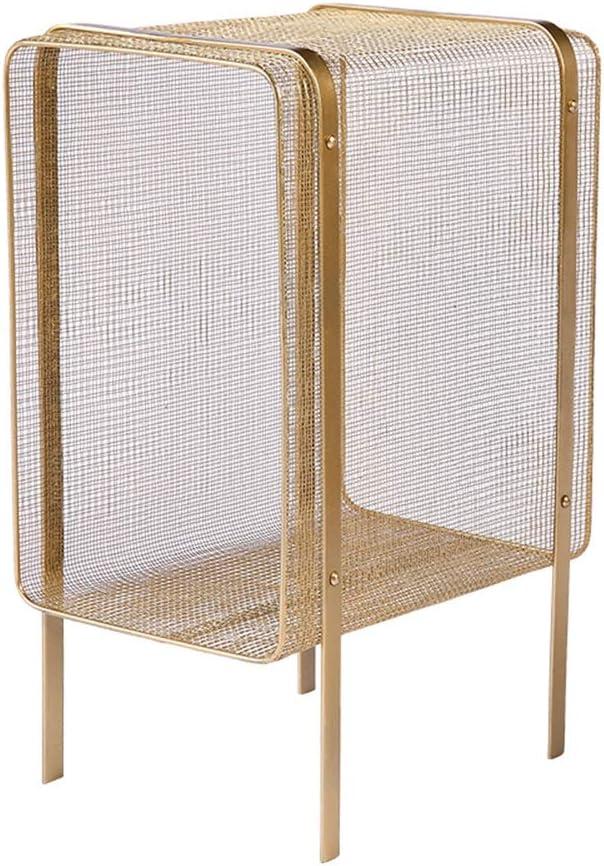 LLRDIAN Estante Simple de la Sala de Estar - Estante pequeño para Almacenamiento de sujetapapeles - Estante de Almacenamiento de Biblioteca Junto a la Cama Estantería de Mesa fácil (Color : Gold):