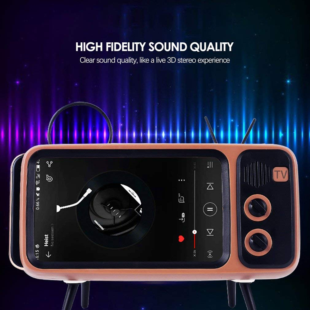 Retro BT Speaker with Mobile Phone Screen Stand,Portable Bluetooth Speaker with AUX FM BT Optional,3D Stereo Sound Quality,TF Card Slot,USB Port,32.8ft Wireless Range Bluetooth V4.2 by LOVY