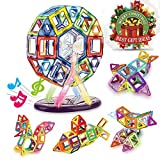 magnet building kits - Magnetic Blocks- Magnetic Building Blocks Kit with Magical Music Box, Creative Educational Construction Eco Stacking Toys for Kids/Girls/Boys (Multicolored)