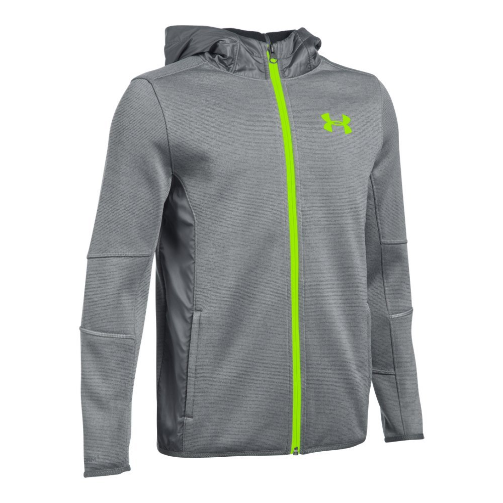 Under Armour Boys' Swacket FZ, Graphite/Fuel Green, Youth Small
