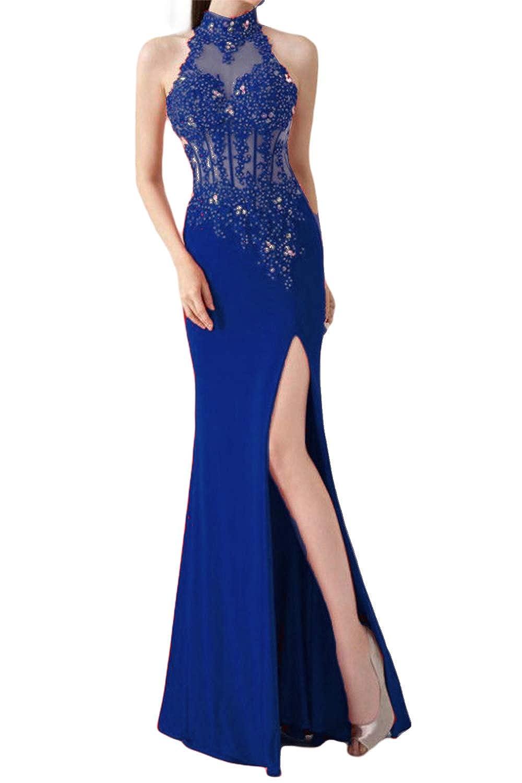 Sapphire bluee SDRESS Women's Beaded Rhinestones Appliques High Neck Spit Side Long Prom Dress