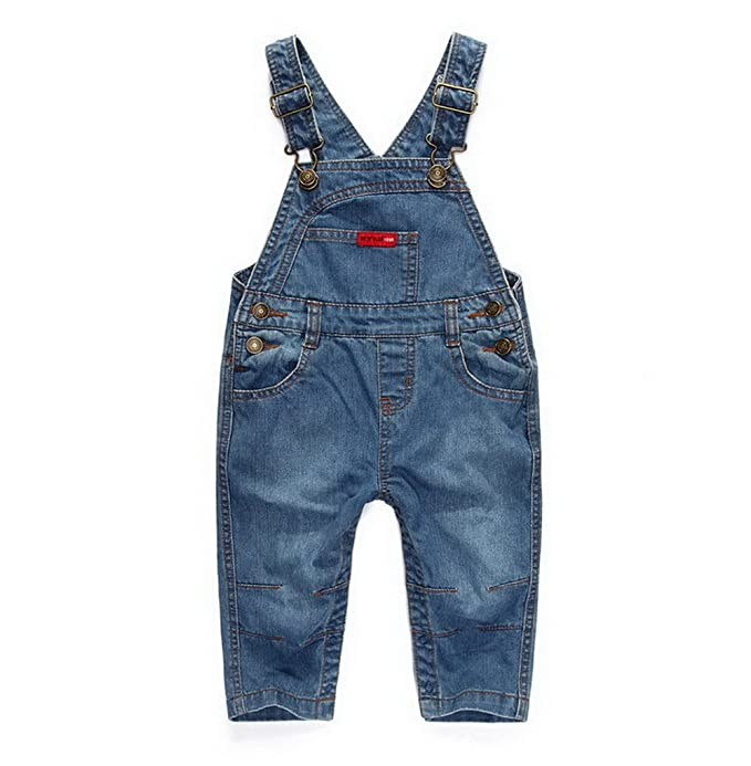 Acme Made Little Kids Denim Peto Niños Stone Wash Vaqueros para bebé Mono Pantalones Mono