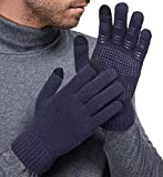LETHMIK Mens&Womens Non-Slip Touchscreen Gloves Winter Warm Knit Wool Lined Texting Glove Blue Grey-Mens