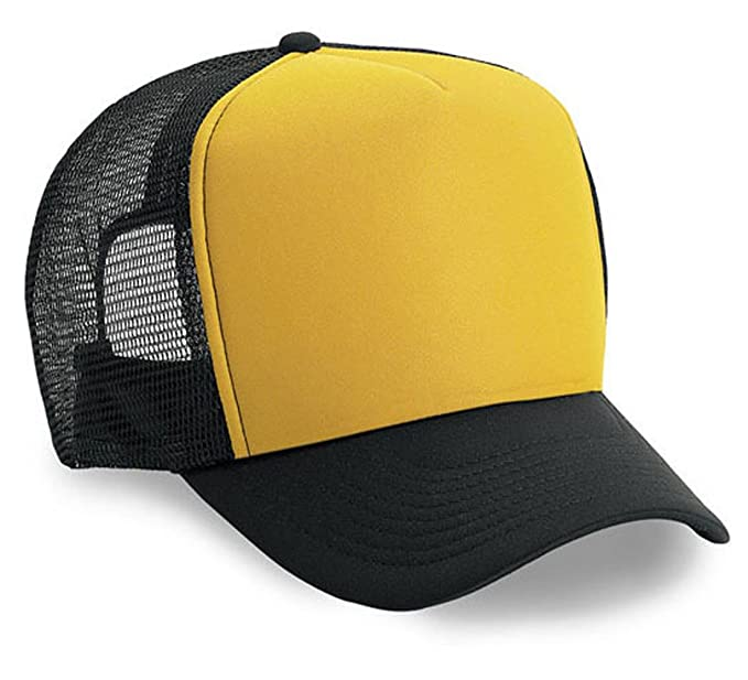 ccd56a45e9e1c Amazon.com: ThatsRad Blank Two Tone Color Mesh Snapback Trucker Hat Cap  (Black Gold): Clothing
