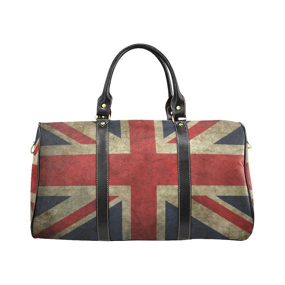 Vintage USA UK Canada Flag Travel Duffel Bag Waterproof Weekend Bag with Strap