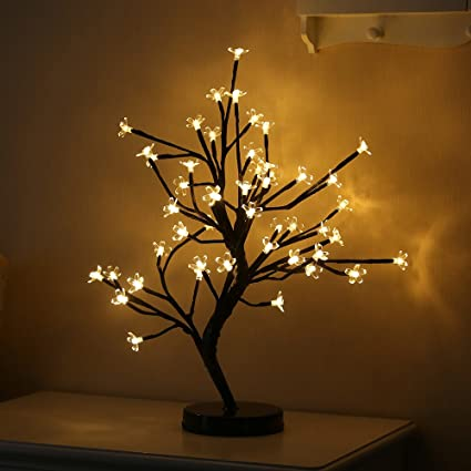 cherry blossom bonsai light mini decorative table tree night lamp48 led lights