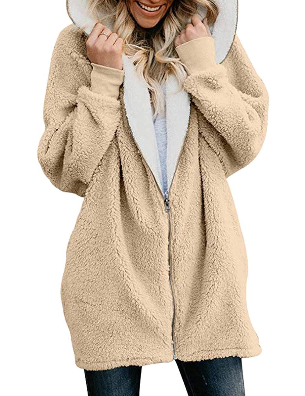 SEBOWEL Women Fuzzy Fleece Jacket Hooded Cardigan Open Front Coat Outwear Pocket